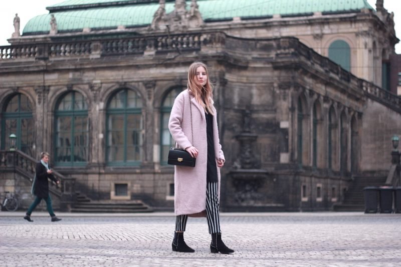 outfit 7 girls 7 styles frühling rosa mantel streifen hose in dresden