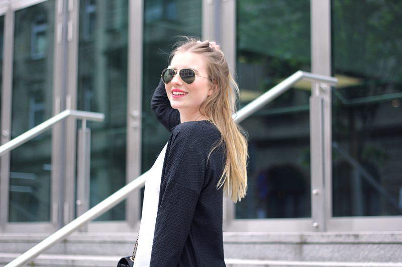 Outfit blogparade 7girls7styles schwarz weiß look rayban sonnenbrille