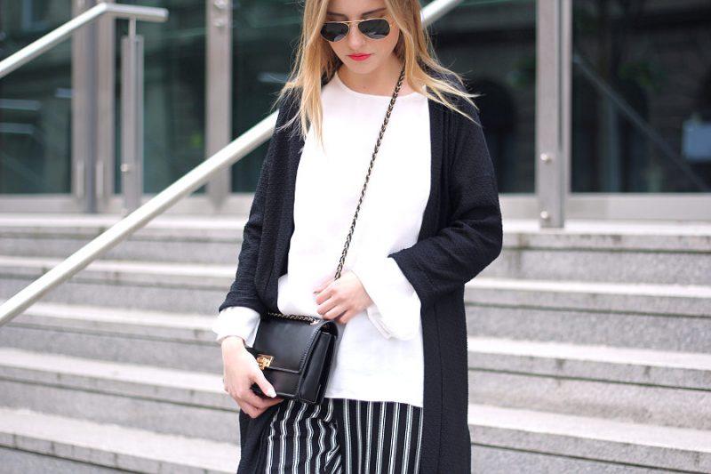 outfit schwarz weiß blogparade mit 7 girls 7 styles asos h&m zara rayban