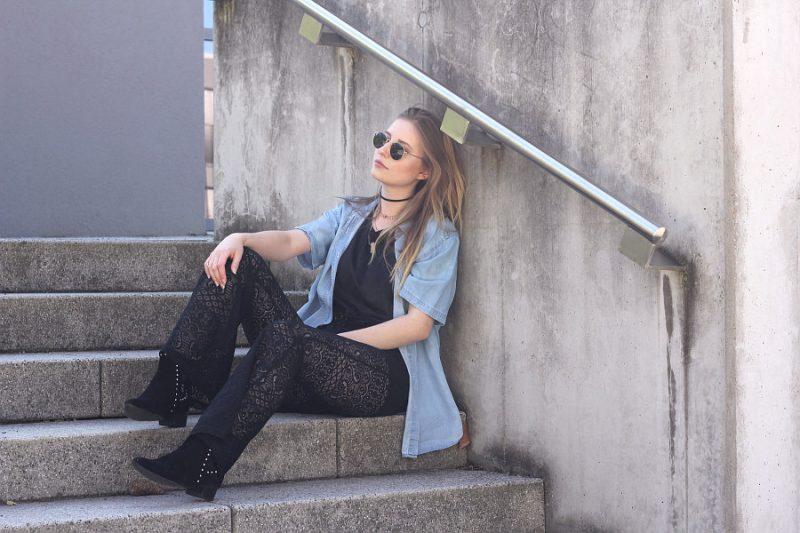 7girls7styles sommer festival schwarze spitze und jeans