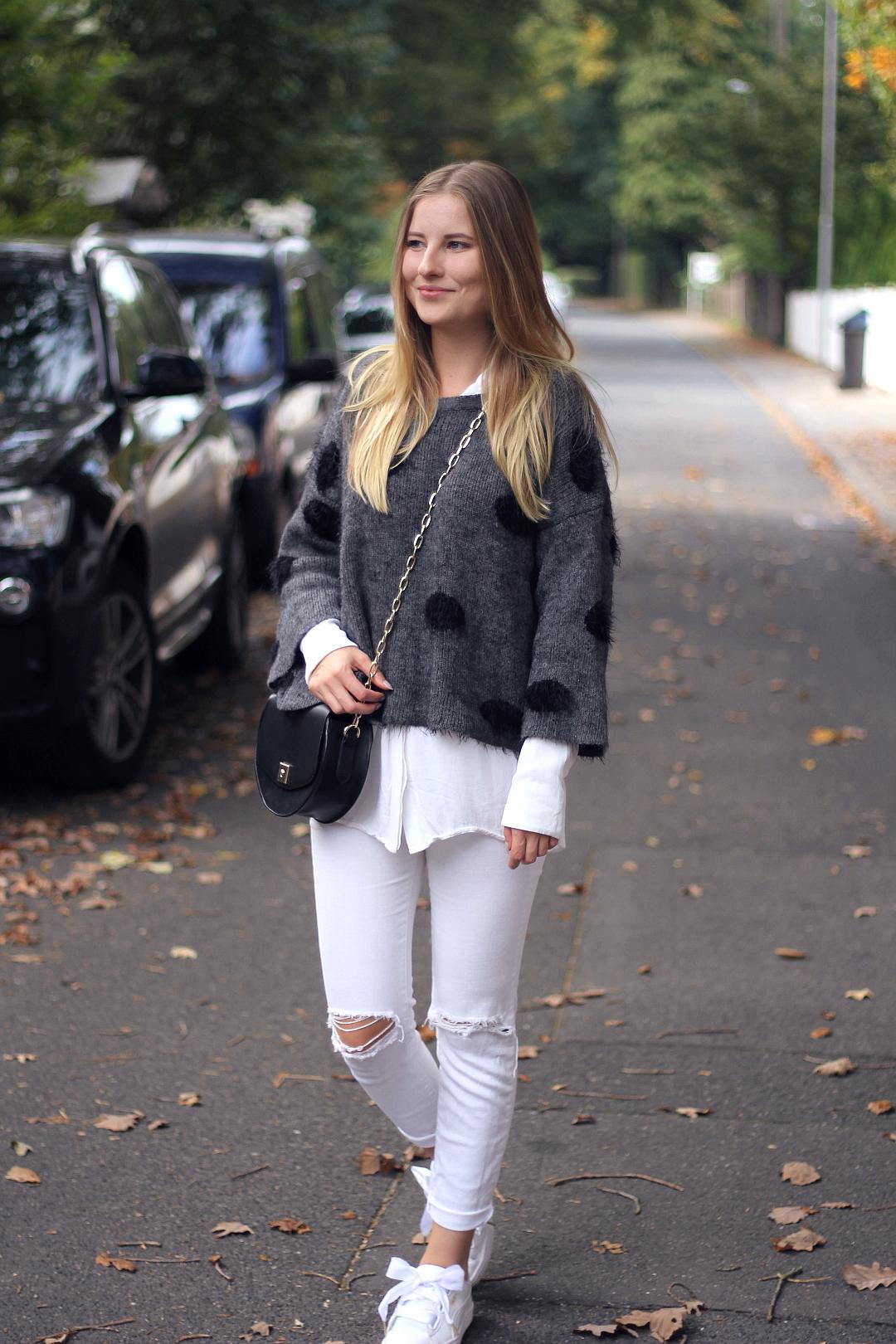 outfit herbst look mit 7 girls 7 styles strick pullover grau mit punkten und all white