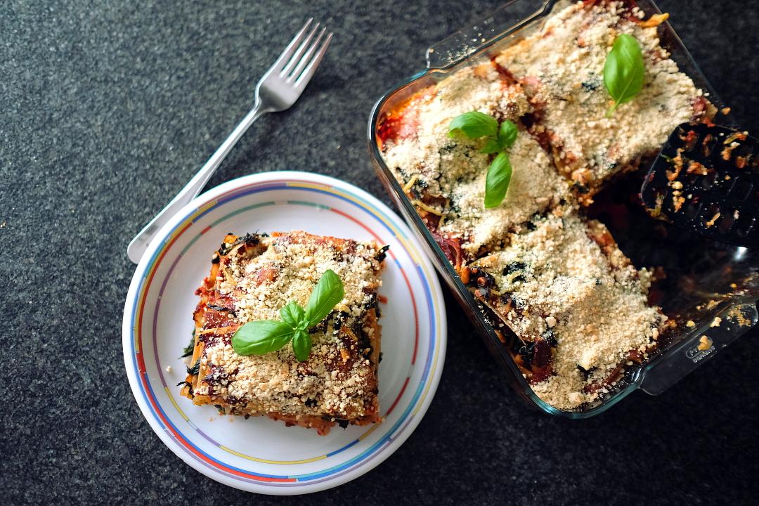 Vegane Spinat Lasagne