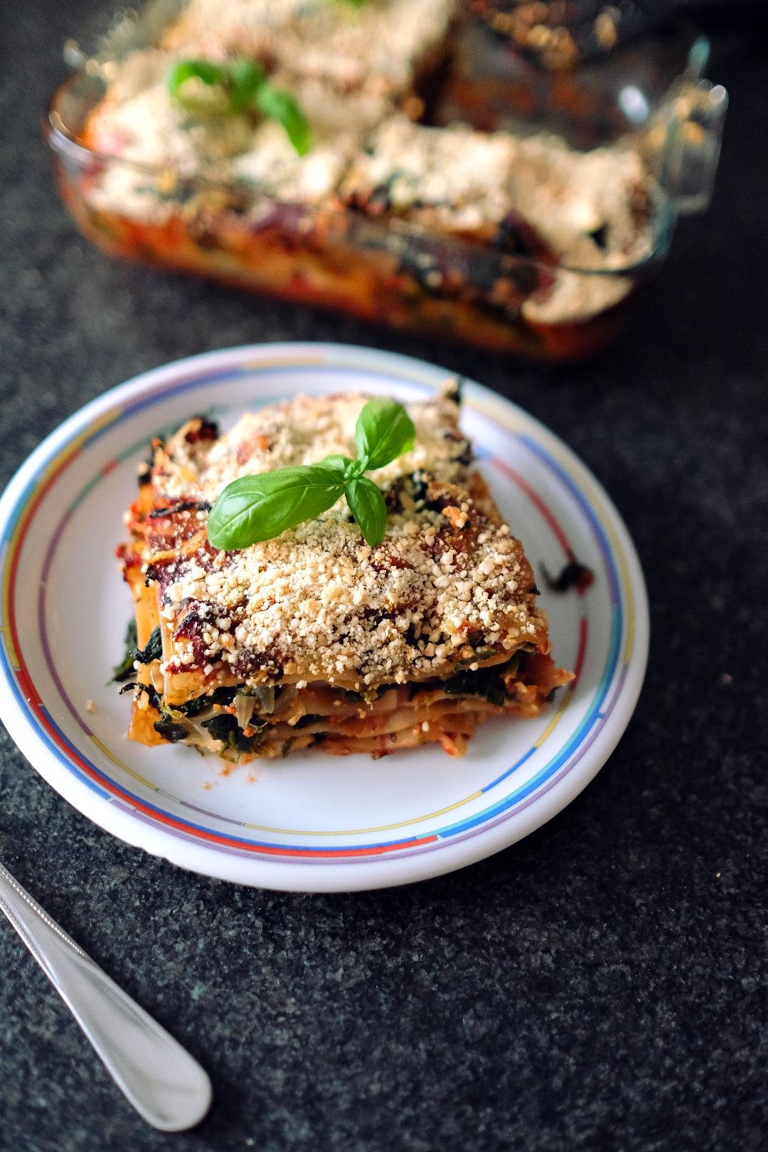 selbstgemachte vegane Spinat Lasagne einfaches rezept